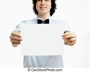 Man with sheet of paper