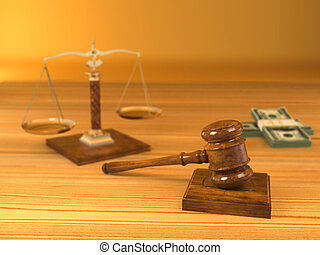 Rights. Judge gavel, scale and money. 3d