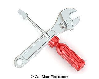 螺絲刀, 工具, 猛扭,  3D