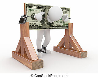 Man being held hostage by money. 3d