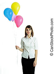 Young woman with balloons - An image of a young beautiful...