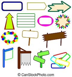 Bitmap, signs arrows and other symbols with copy-space -...