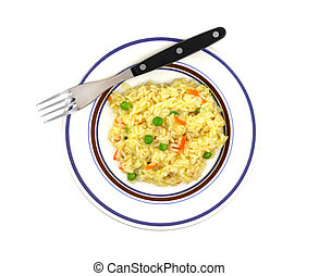 Rice pilaf in dish on white background - Rice pilaf in a...