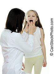 Patient - An image of doctor looking at a child's tonsils