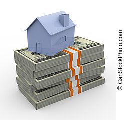 3d house on dollar bills - 3d house on top of stack of...