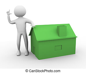 3d man with house
