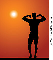 Body-builder - Silhouette of the sportsman on a background...