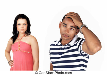 Sad angry couple - Portrait of a stressed couple, with woman...