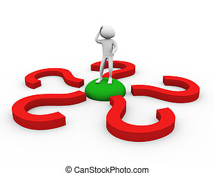 3d man in doubt about decision - 3d man encircled by...