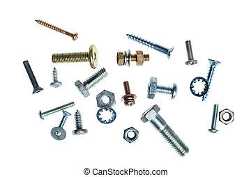 Nuts and bolts - An assortment of nuts and bolts on a white...