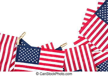 American flags border a pure white background Space left...