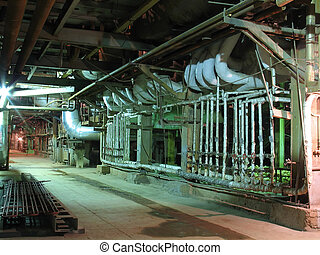 Pipes, tubes, machinery and steam turbine at power plant