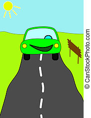 Bitmap: Happy car driving on the road