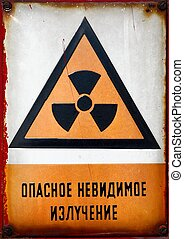 Radioactive Sign - Radioactive area warning sign with...