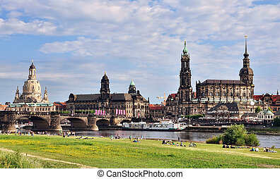 Dresden - Panorama of Dresden from river bank of Elba
