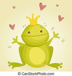 Cute cartoon frog prince, illustration