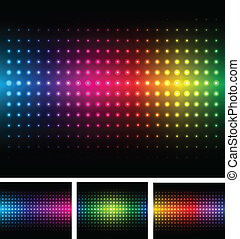 Abstract background colorful lights on black, vector
