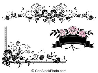 roses design elements - vector design elements with roses in...
