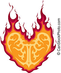 Flaming Heart Tattoo is an illustration of a tattoo of a...