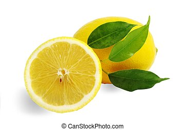 Lemons - An image of fresh yellow lemons on white background