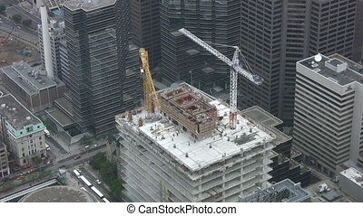Construction cranes Timelapse - Timelapse shot of...
