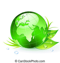 Green Earth - illustration of Green Earth planet showing...