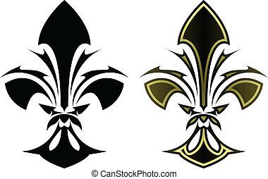 Fleur de lys tattoo - Fleur de lys symbol in stylized tattoo...