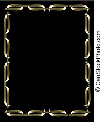 gold frame on black with interlaced planes