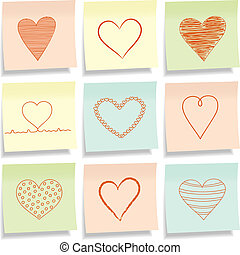 Sticky notes with hearts.