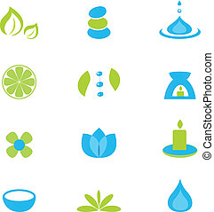 Zen, nature and relaxation icon set - isolated on white...