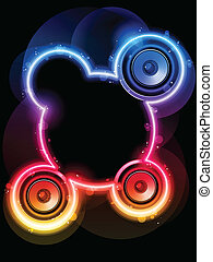 Disco Speaker with Neon Rainbow Circle - Vector - Disco...