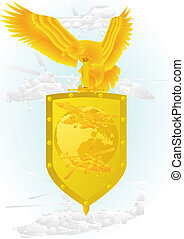 Air force - Air Force. Badge with an eagle holding a sword,...