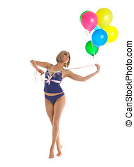 Beauty woman in lingerie with balloons