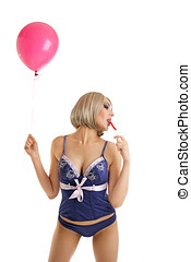 Beauty woman in lingerie with balloons lick candy - Beauty...