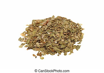 Pile of dried oregano leaves on white background