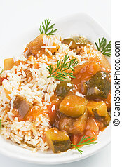 Cooked vegetable with rice - Classic vegetable ratatouille...