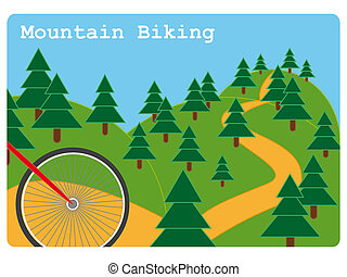 Mountain biking illustration - Mountain biking sport...