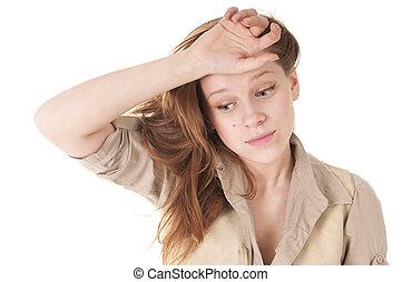 Sad Teenage Girl - Sad exhausted Teenage Girl isolated on...