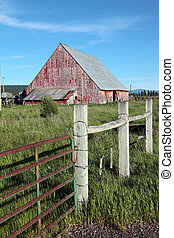 Old barn and fence, Oregon. - Old barn fence and scattered...