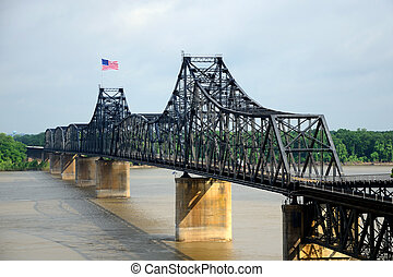 Mississippi Railroad Bridge - Old style overhead steel...