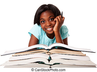 Happy student with homework - Beautiful happy smiling...