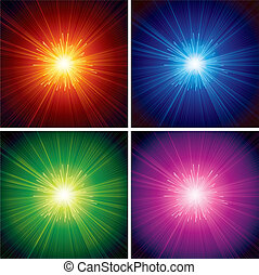 Burst Backgrounds - Abstract Starburst - set of vector...