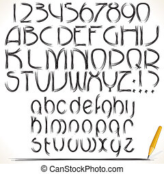 Drawing Alphabet - Pencil drawing vector alphabet