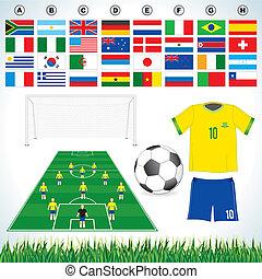 Soccer set - Soccer vector set : soccer field, soccer ball,...