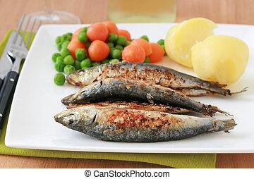 legumes, fritado, sardinhas