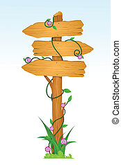 Wooden direction sign - A vector illustration of a wooden...