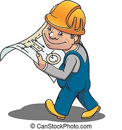 Smiling worker - Smiling cartoon worker with scheme for...