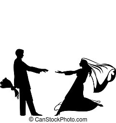 Bride and groom silhouettes for wedding design