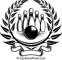 Bowling symbol in laurel wreath in retro style