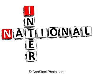 3D Inter Nation Crossword on white background